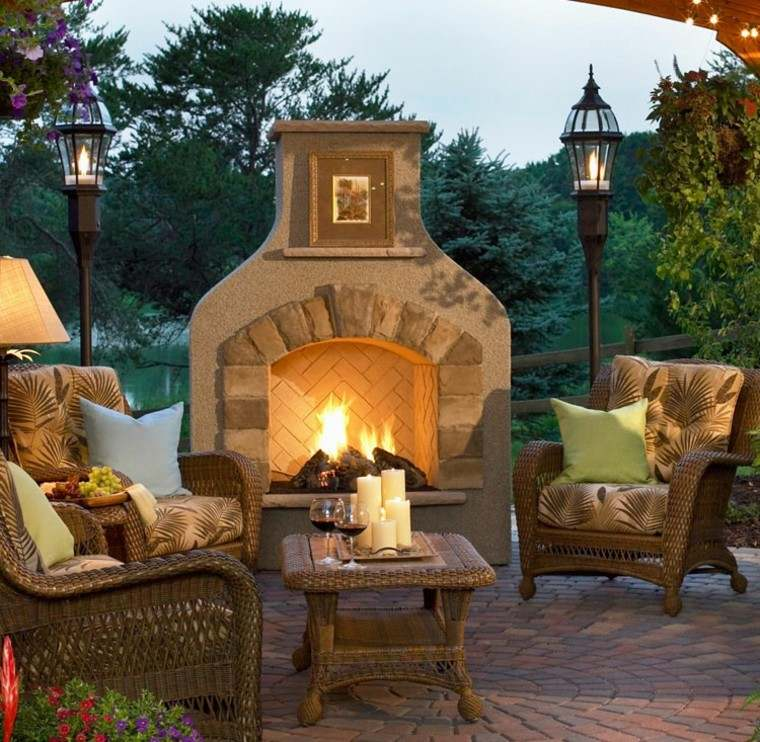 jardin chimenea muebles rattan mesa cafe decorada velas ideas