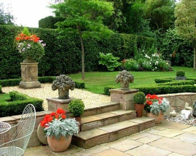 jardin estilo clasico escaleras piedra