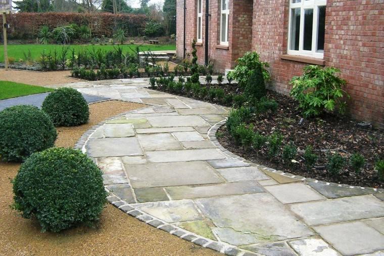Camino de jard n ideas atractivas piedras losas y baldosas - Entradas de jardines ...