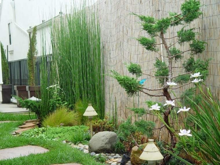 jardin estilo japones zen valla bambu bonsai idea