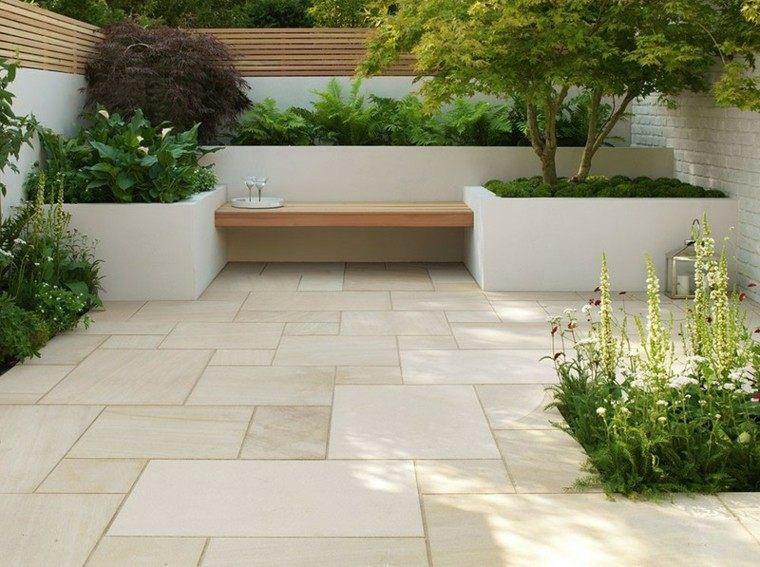 jardin estilo minimalista banco madera ideas bonitas