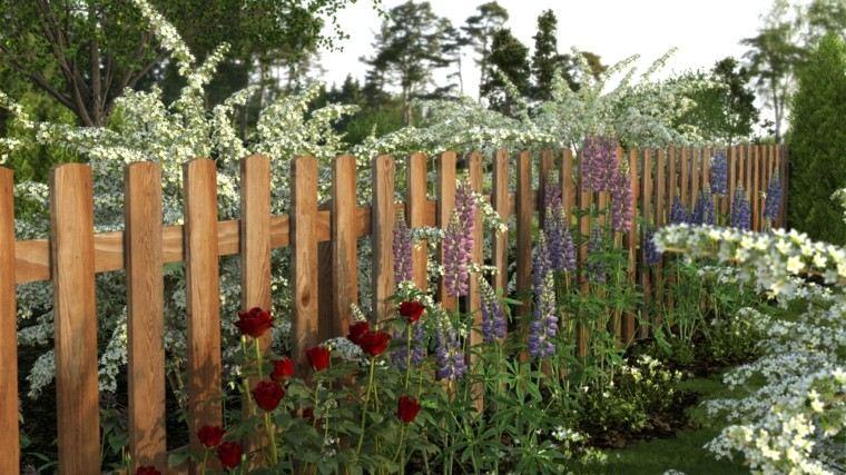 jardin flores silvestres valla madera baja ideas