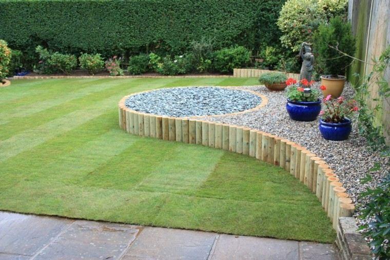 jardin grande cesped ideas madera piedras moderno