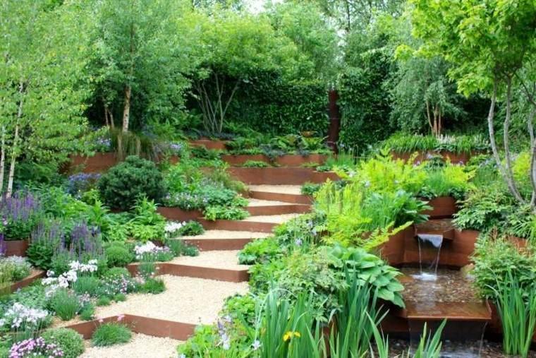 jardin guijarros caida agua escaleras plantas ideas