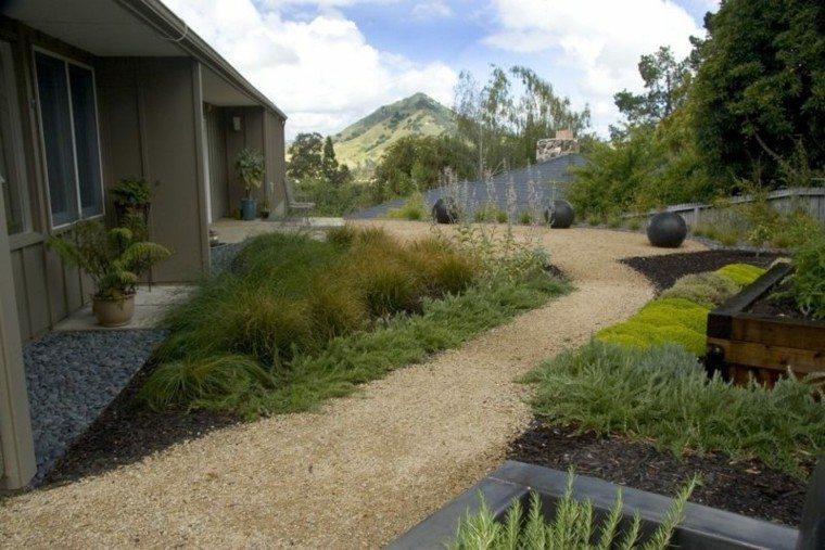 jardin guijarros camono casa plantas macetas ideas