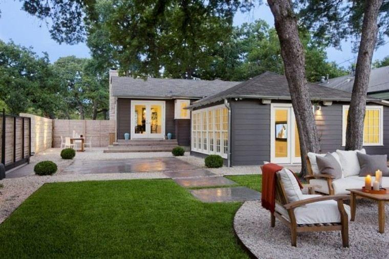 Jardines Para Casas Modernas Perfect Bonita Terraza Madera Luces - Jardines-casas-modernas