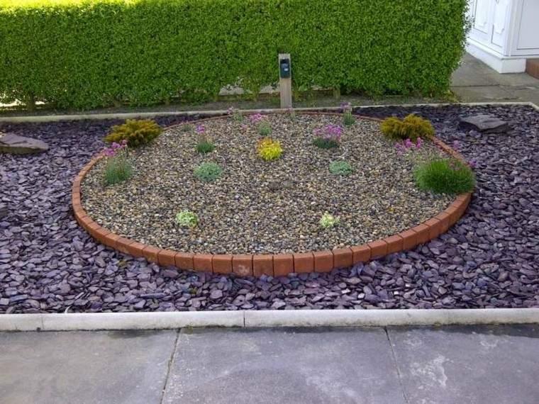 jardin guijarros composicion ladrillo plantas ideas