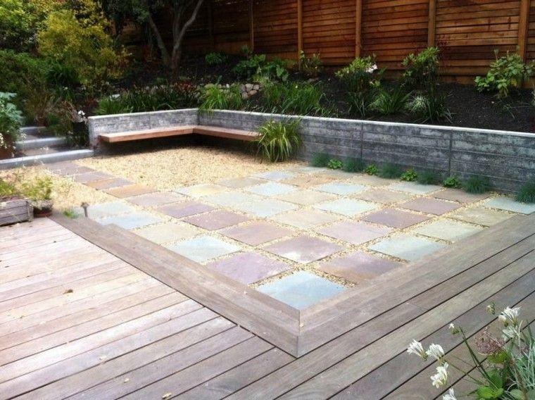 jardin guijarros losas colores suelo madera ideas