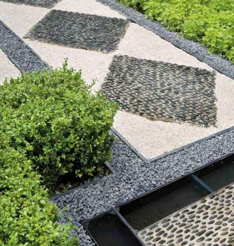 jardin guijarros mosaico paisaje estilo ideas