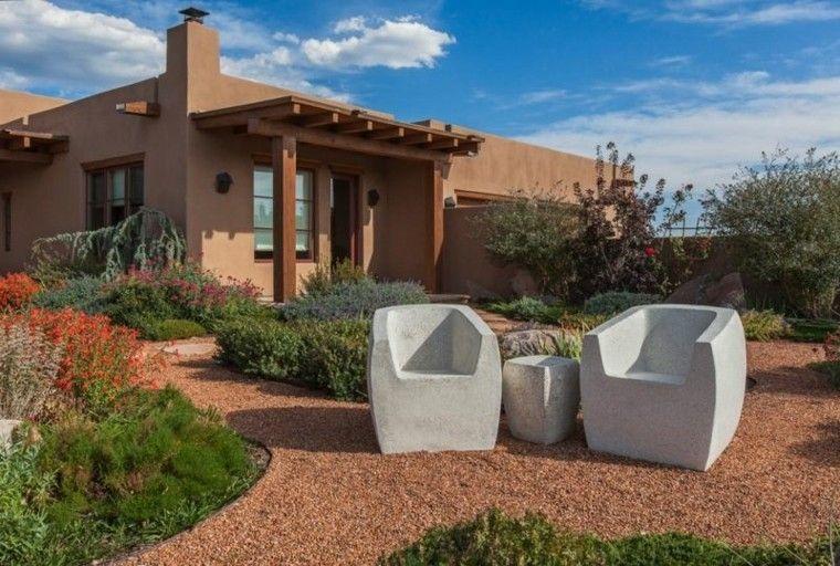 jardin guijarros muebles piedra sillones mesita ideas