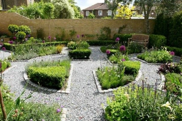 jardin camino guijarros muro piedra