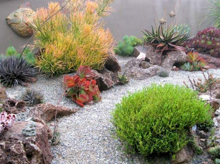 jardin guijarros plantas decoracion paisaje ideas