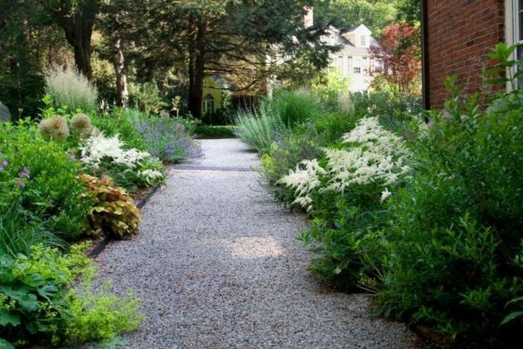 jardin guijarros rodeados plantas camino ideas