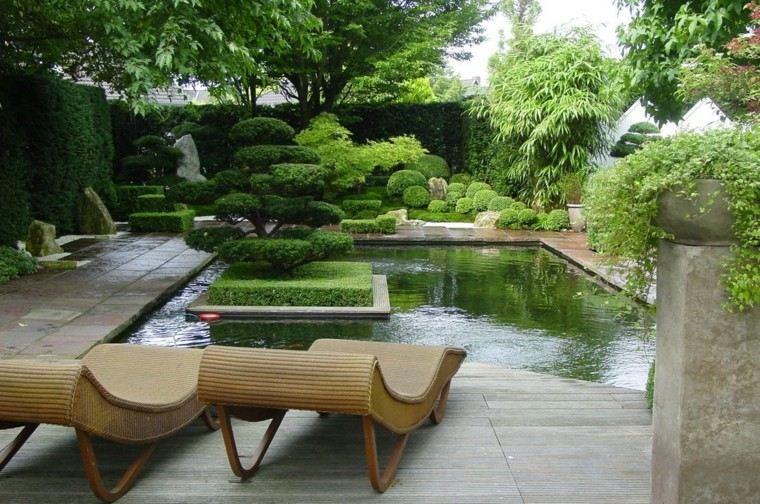 jardin japones estanque grande estilo minimalista ideas