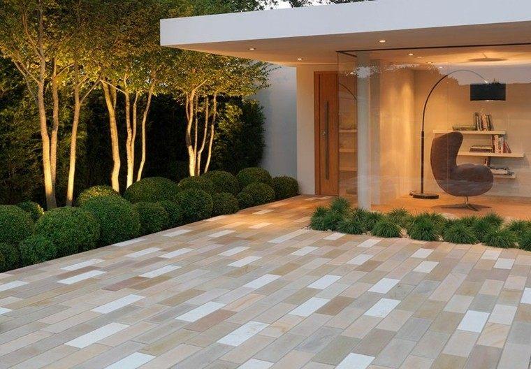 jardin losas estilo minimalista casa ideas