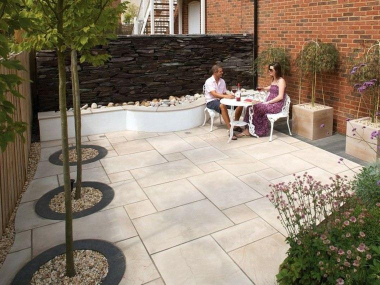 jardin losas pared piedra preciosa arboles ideas