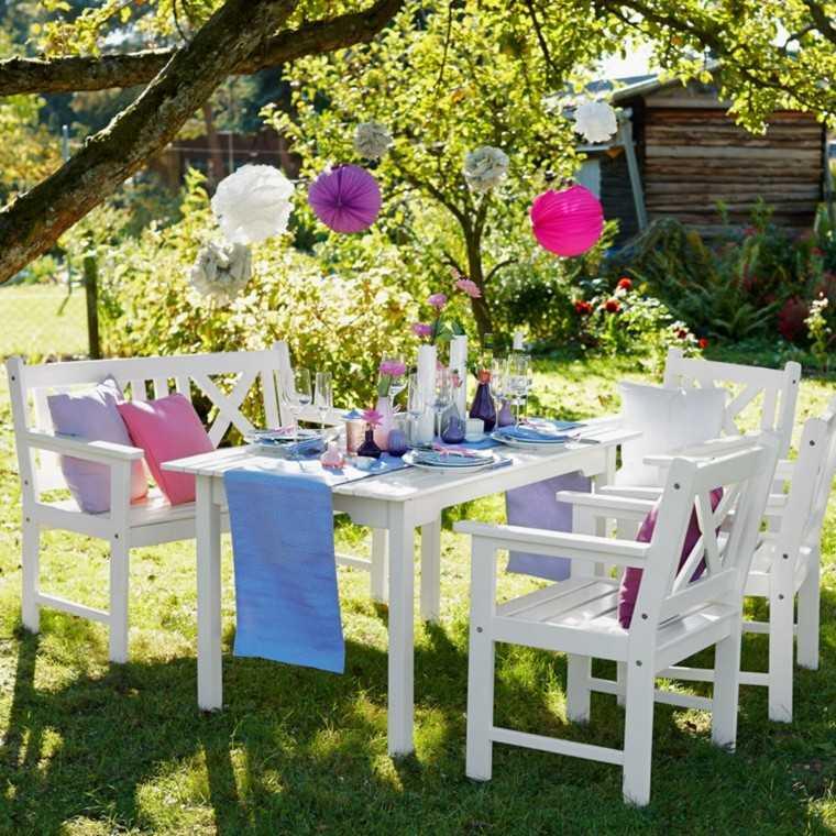 jardin lugar comida mesa preparada blanco ideas