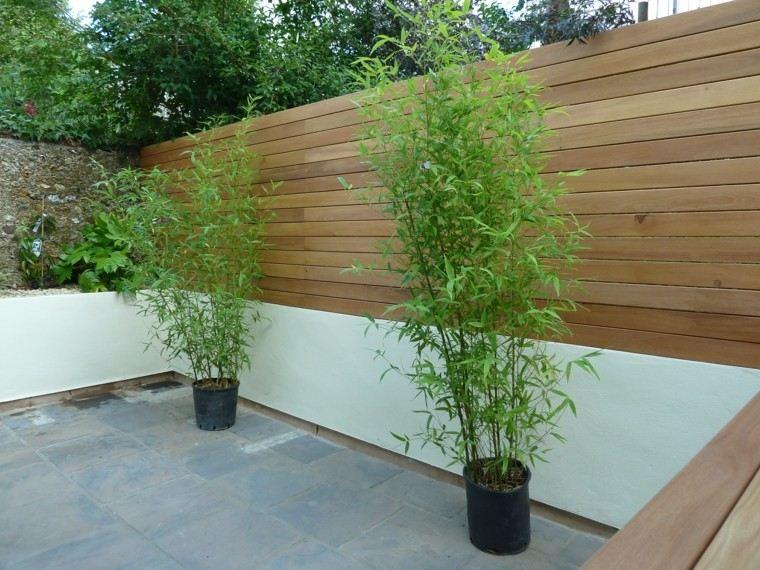 jardin macetas minimalista valla hormigon madera ideas