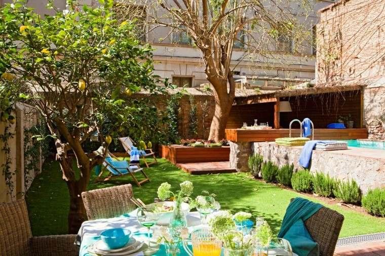 jardin mesa comidas piscina sillones comodos idea