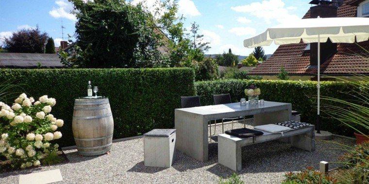 jardin moderno muebles resistentes hormigon ideas
