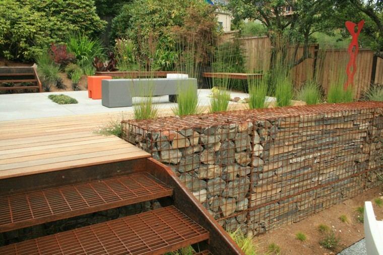 jardin estilo moderno muro piedra