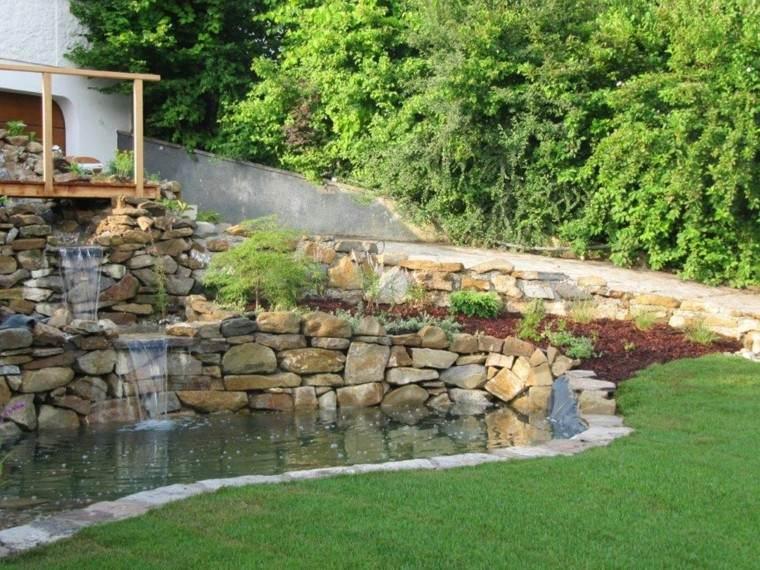 jardin muros piedra caidas agua estanque ideas