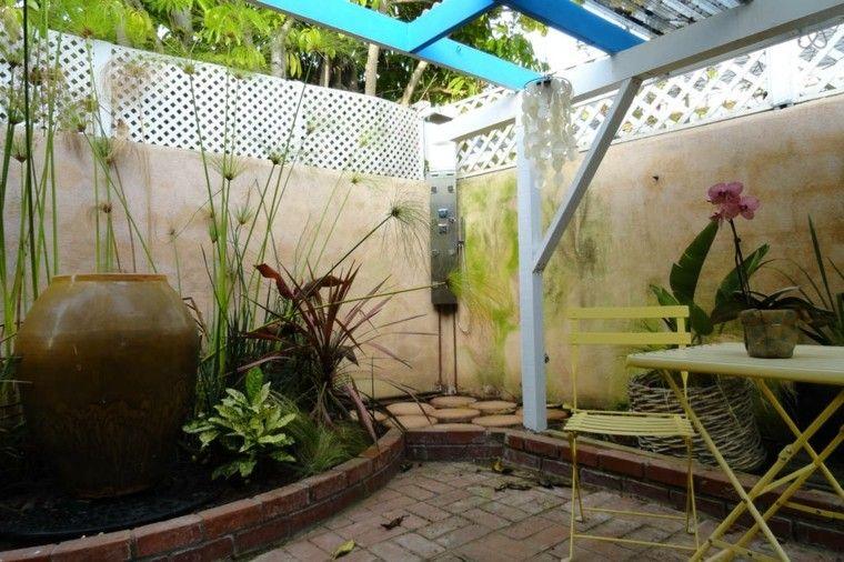 jardin estilo oriental ducha esquina