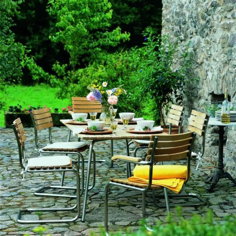 jardin pavimento mesa lista comidas aire libre ideas