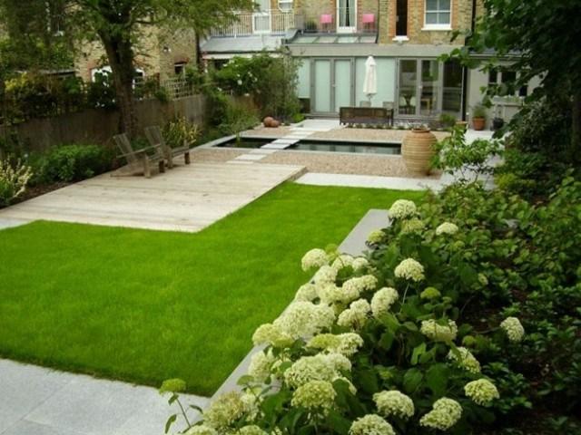 jardin pequeño diseño moderno cesped