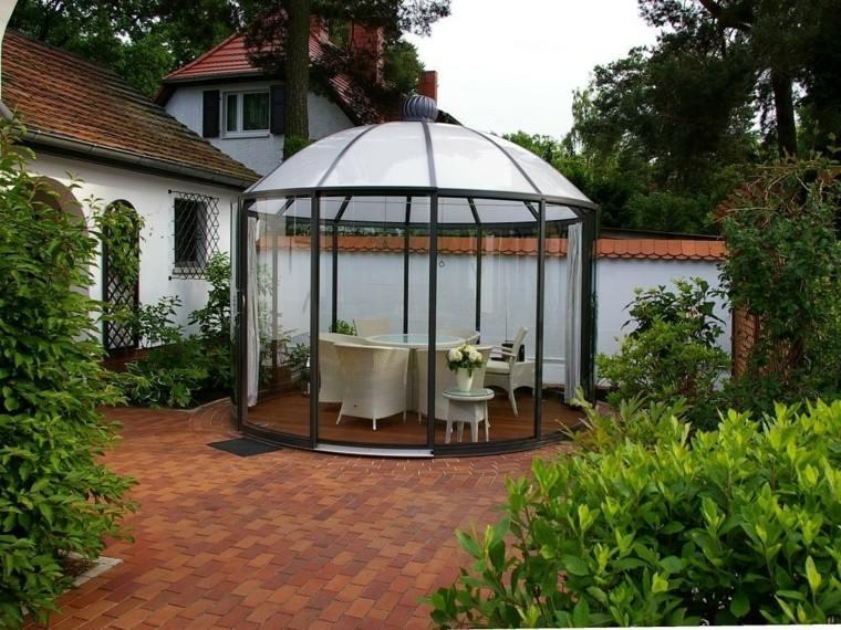 jardin pergola cristal preciosa muro grande blanco ideas