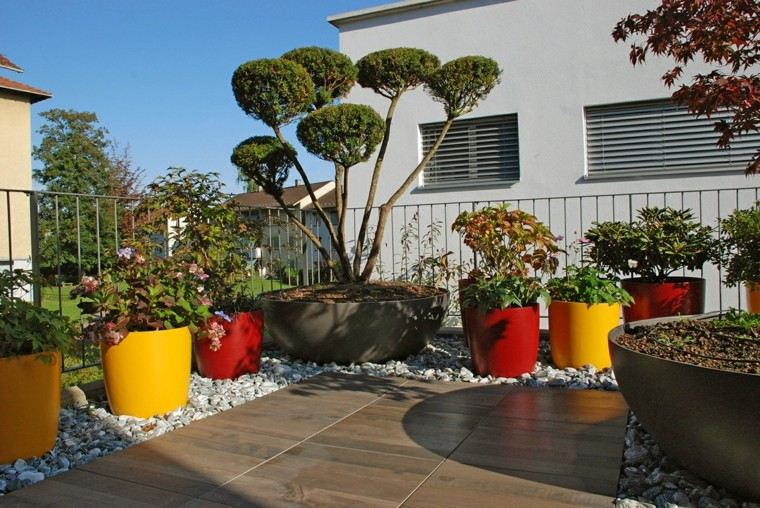 jardin precioso macetas varios colores llamativos ideas