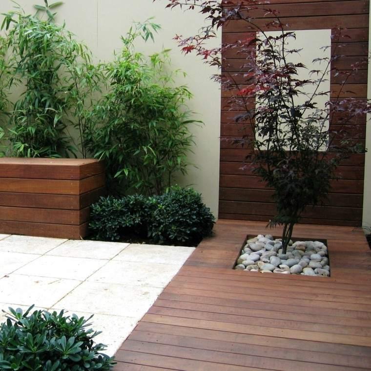 jardin rocas jardineras banca plataforma madera
