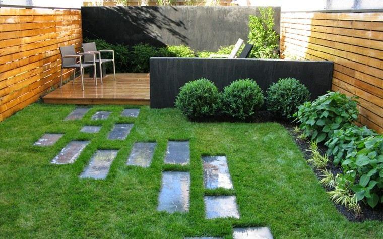 jardin sendero hormigon pared muro listones