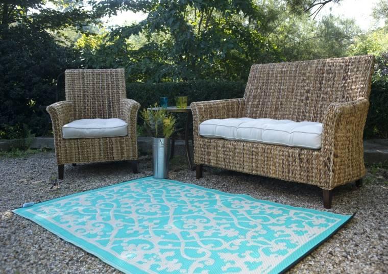 jardin suelo madera muebles alfombra exteriores ideas
