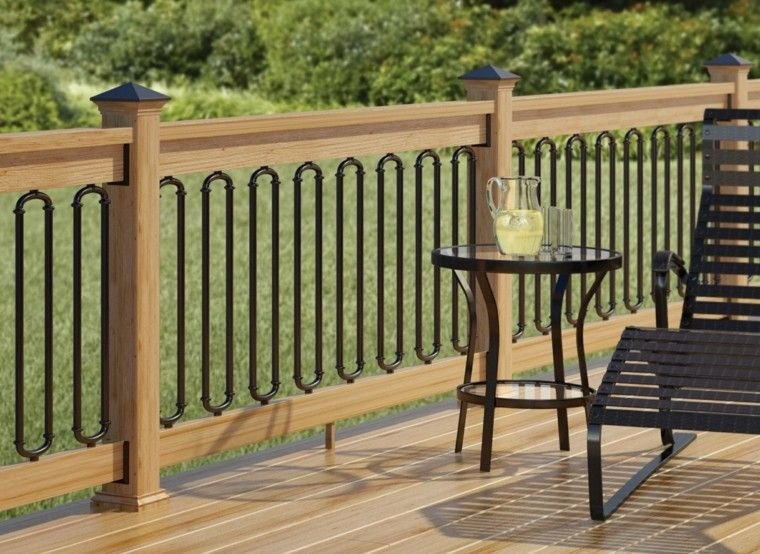 jardin suelo madera valla baja madera metal ideas
