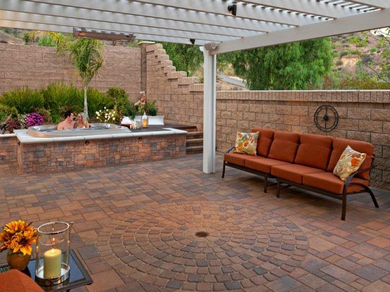 jardin suelo pavimento jacuzzi sofa pergola ideas