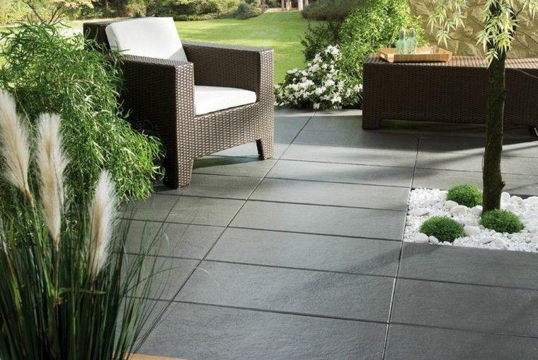 jardin suelo piedra muebles rattan precioso ideas