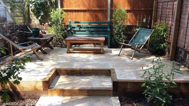 Vallas de madera y vallas met licas para el jard n for Mesa banco madera jardin