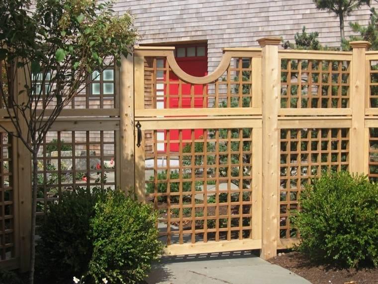 jardin valla madera puerta salida ideas moderna