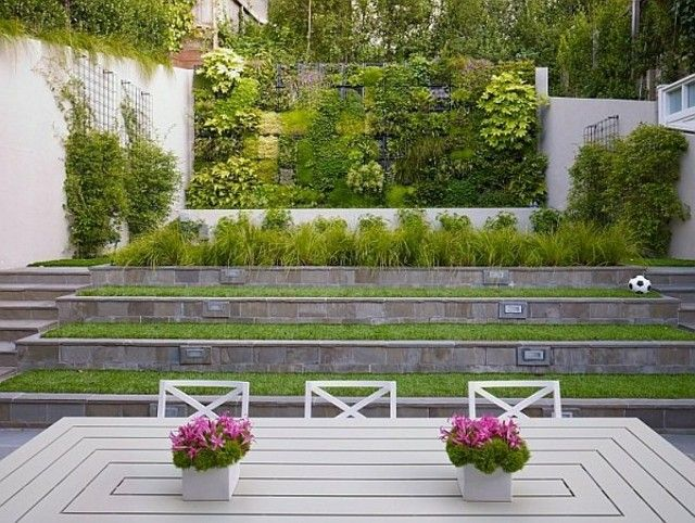 jardin vertical diseño pared gradas