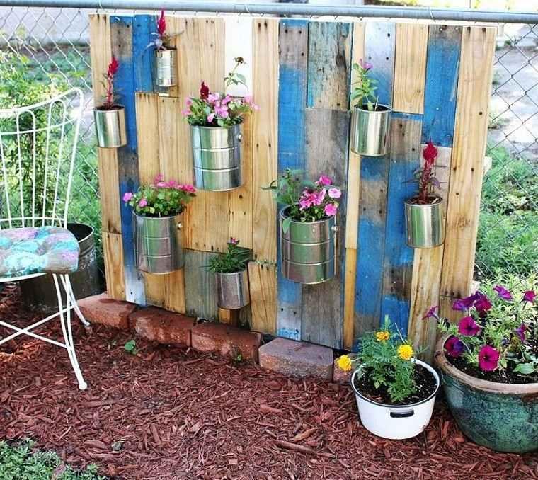 jardin vertical palet patio envases metal