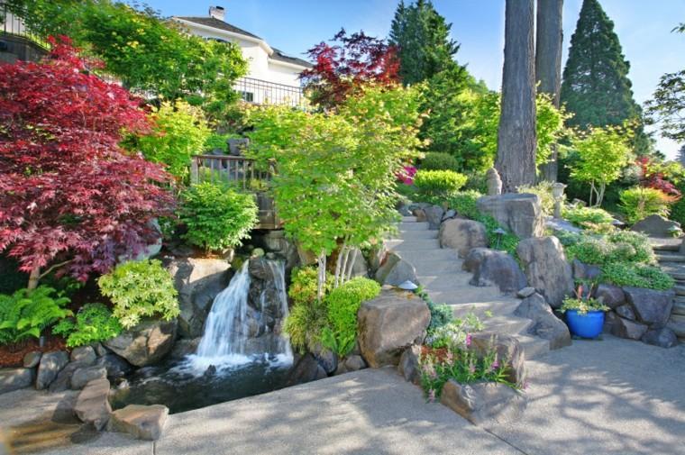 diseño de jardines caida agua tranquilizante escalera ideas