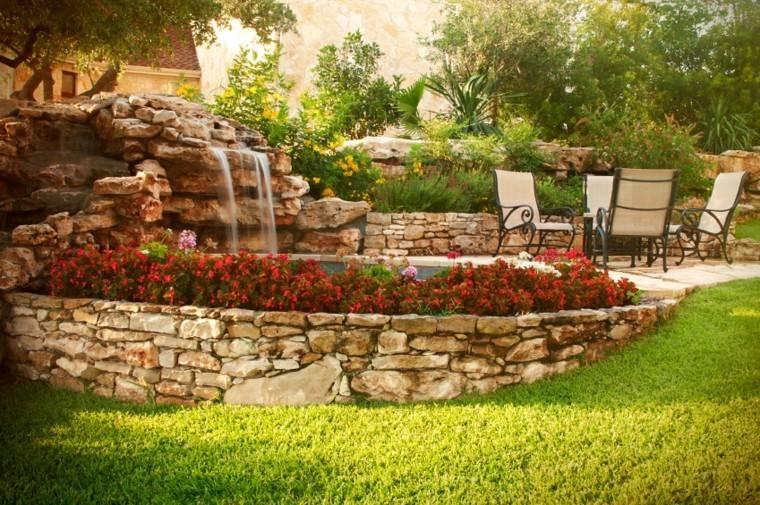 jardines de diseno estanque caida agua muebles ideas