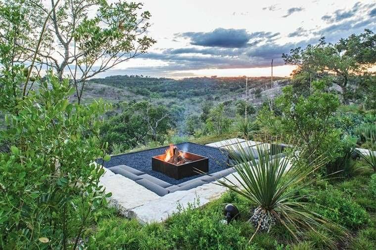 diseño de jardines lugar fuego vistas preciosas ideas