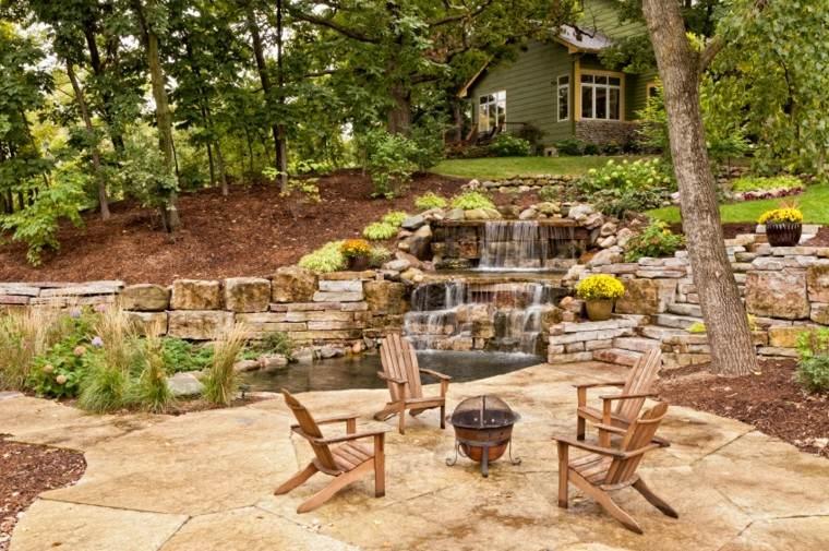 diseño de jardines muebles teca lugar fuego caida agua ideas