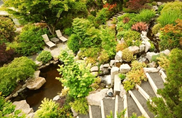 diseo de jardines grandes tumbonas plantas escalera ideas