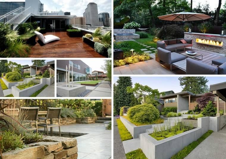 jardines diseno muro hormigon ideas modernas