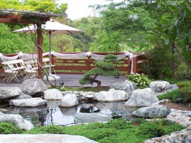 jardines estanque natural pergola parasol