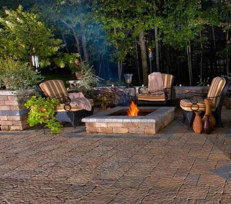 jardines lugar fuego sillas rattan cojines ideas