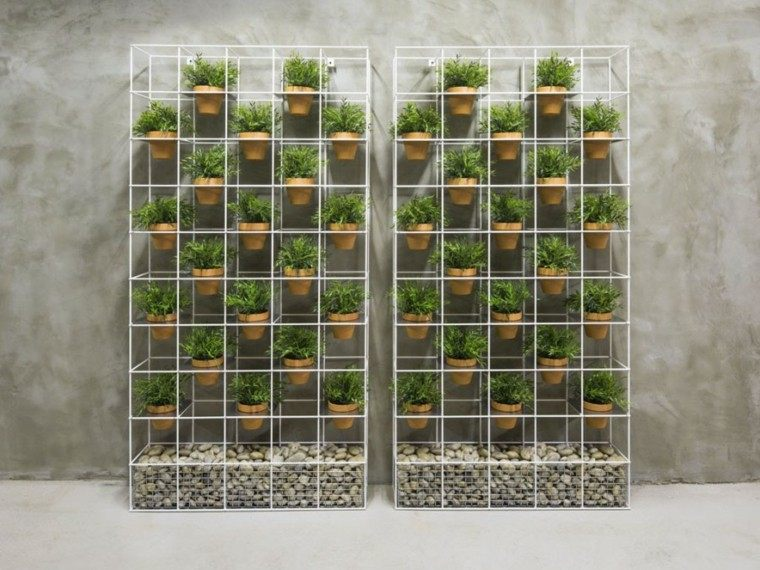 jardines verticales espacio macetas piedras ideas